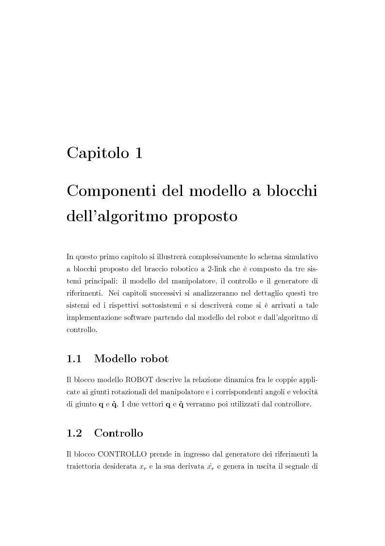 Anteprima della tesi: Verifica simulativa di un controllo ad apprendimento per un braccio robotico con dinamica e cinematica incerte, Pagina 2