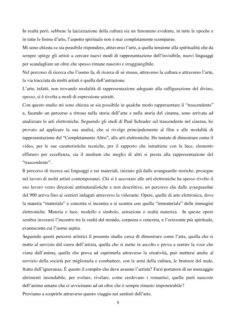 """Anteprima della tesi: La """"Spiritualità"""" tra cinema e arti elettroniche nel dibattito contemporaneo sull'arte, Pagina 3"""