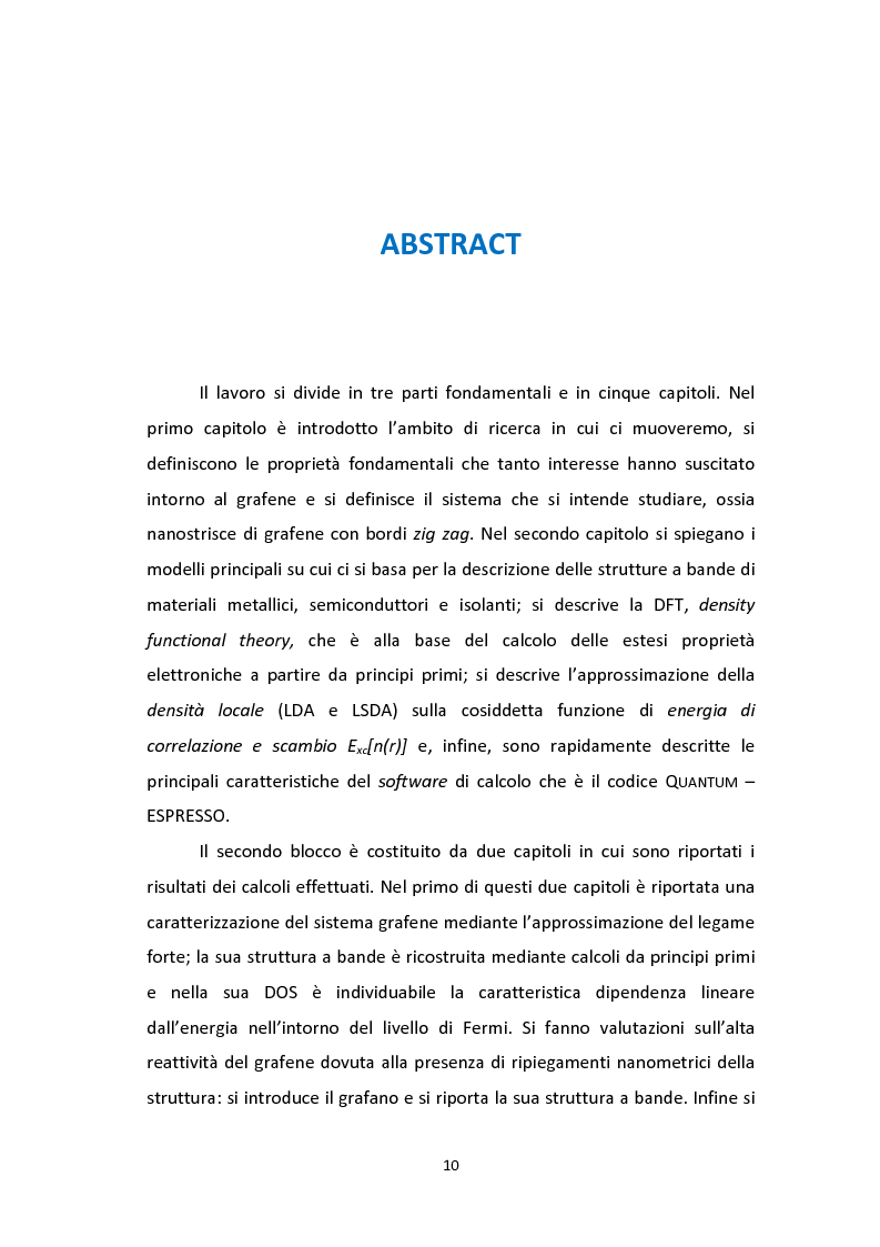 Anteprima della tesi: Calcoli da principi primi per lo studio degli effetti di bordo sulle proprietà strutturali ed elettroniche di nanostrisce di grafene, Pagina 7