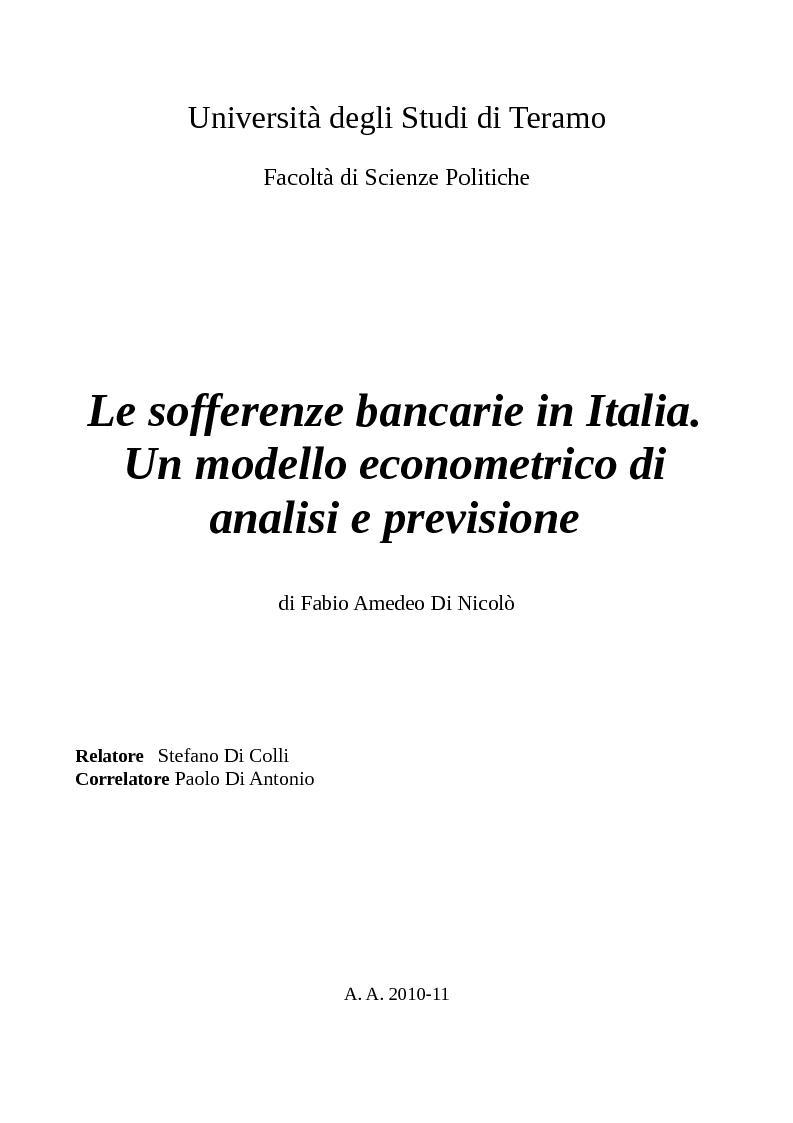 Anteprima della tesi: Le sofferenze bancarie in Italia. Un modello econometrico di analisi e previsione, Pagina 1