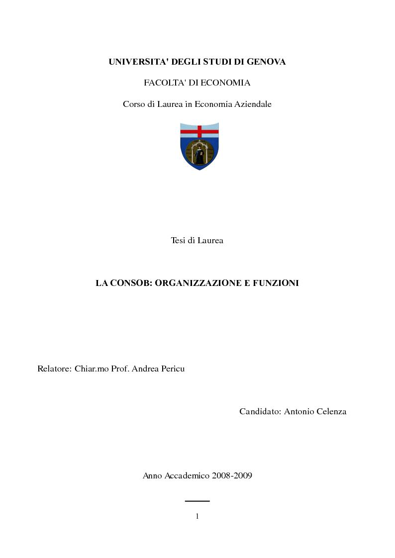 Anteprima della tesi: La Consob: organizzazione e funzioni, Pagina 1