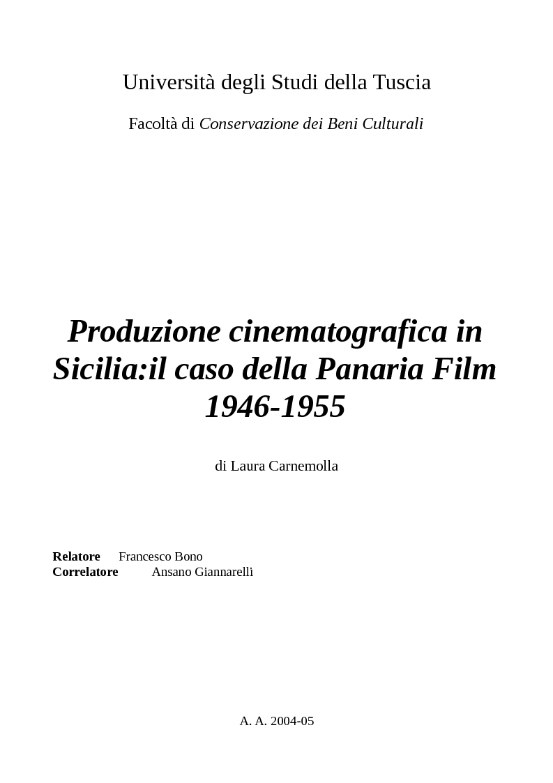 Anteprima della tesi: Produzione cinematografica in Sicilia: il caso della Panaria Film 1946-1955, Pagina 1