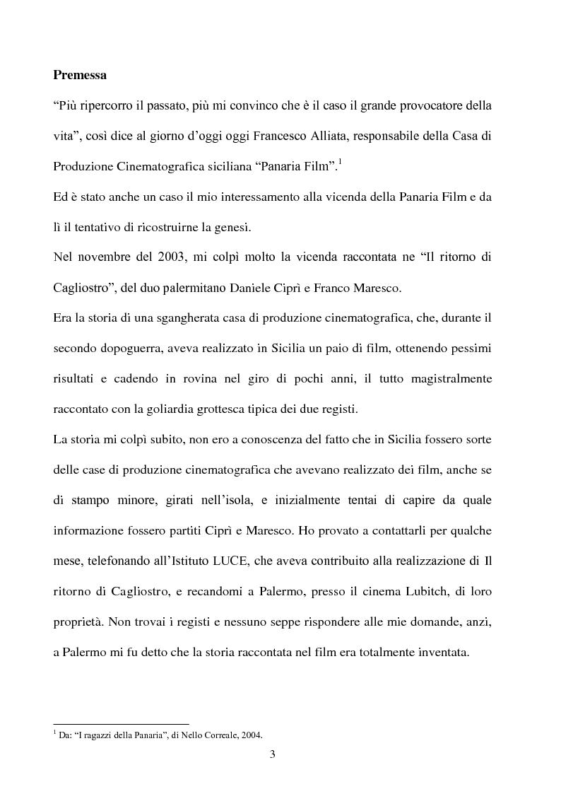 Anteprima della tesi: Produzione cinematografica in Sicilia: il caso della Panaria Film 1946-1955, Pagina 2