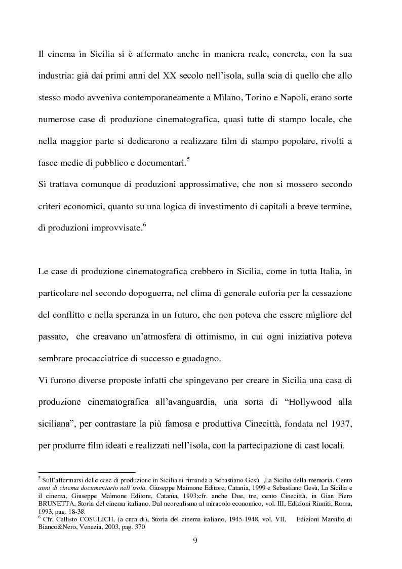 Anteprima della tesi: Produzione cinematografica in Sicilia: il caso della Panaria Film 1946-1955, Pagina 8