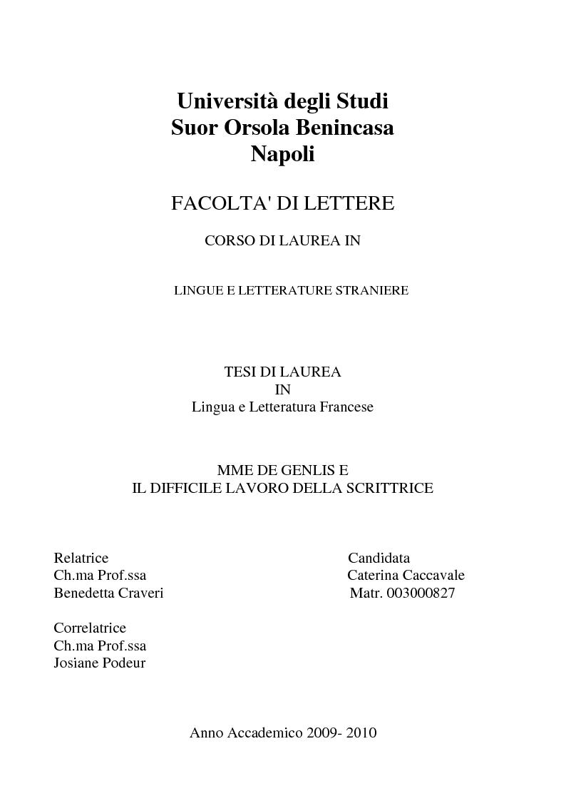 Anteprima della tesi: Mme de Genlis e il difficile mestiere di scrittrice, Pagina 1