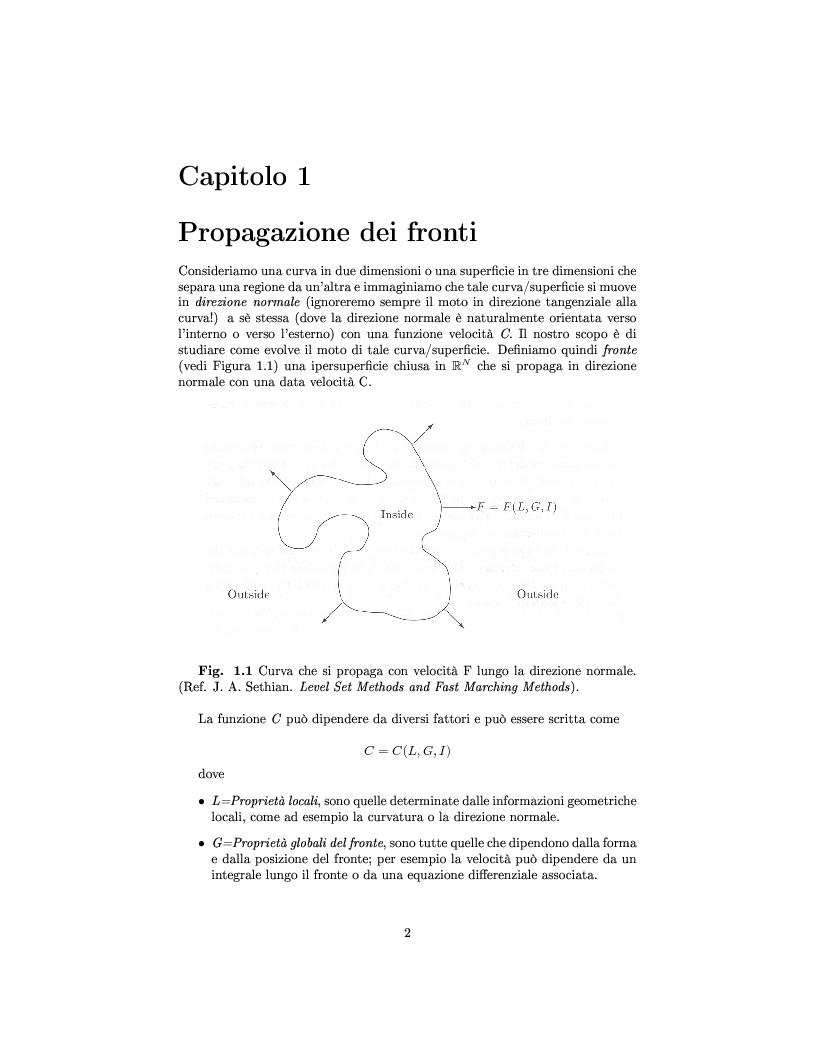 Anteprima della tesi: Algoritmi veloci per l'evoluzione dei fronti con applicazioni alla segmentazione di immagini, Pagina 4