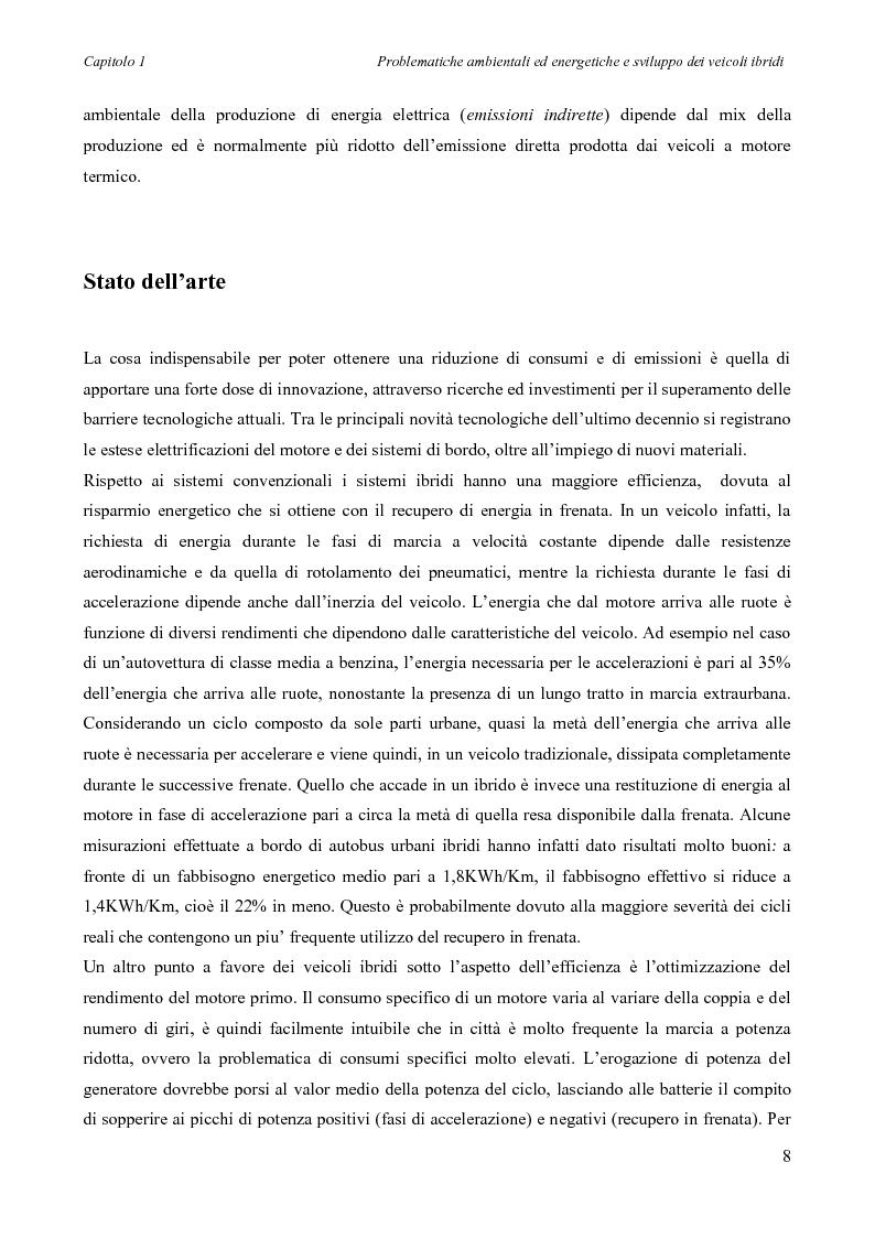 Anteprima della tesi: Sintesi e simulazione di un modello per la gestione dei flussi energetici in un veicolo ibrido., Pagina 11