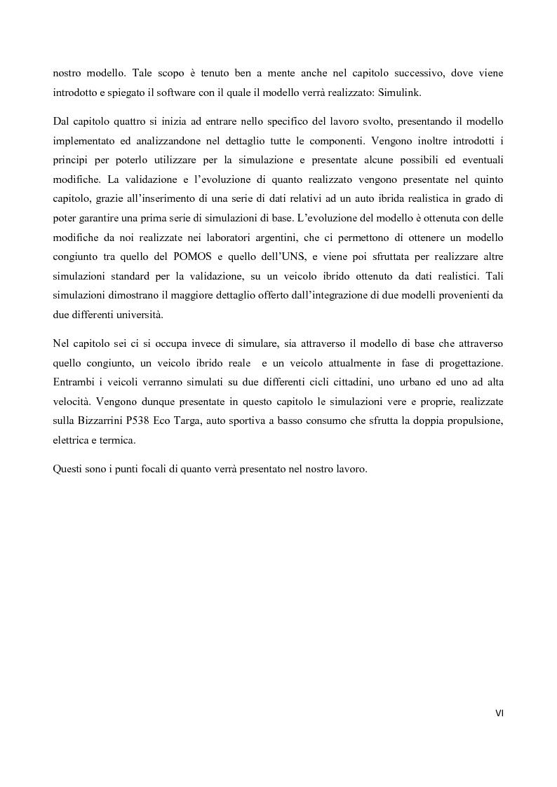 Anteprima della tesi: Sintesi e simulazione di un modello per la gestione dei flussi energetici in un veicolo ibrido., Pagina 3