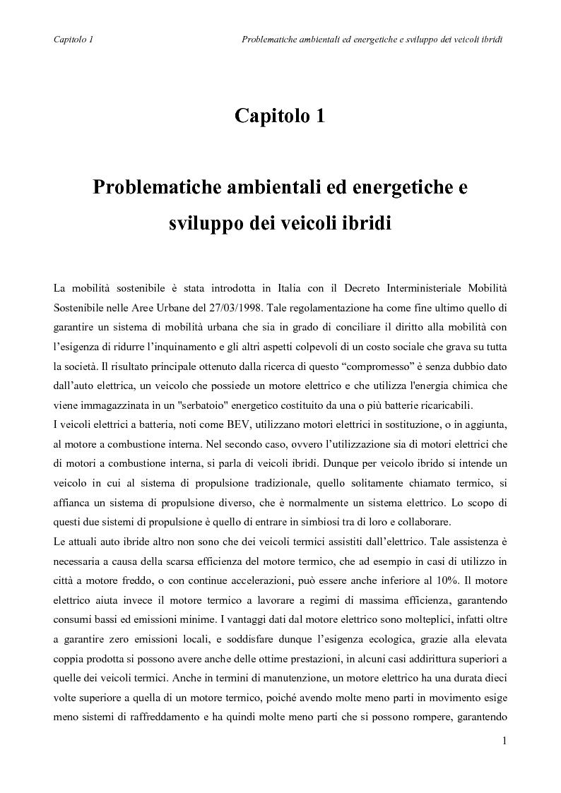 Anteprima della tesi: Sintesi e simulazione di un modello per la gestione dei flussi energetici in un veicolo ibrido., Pagina 4