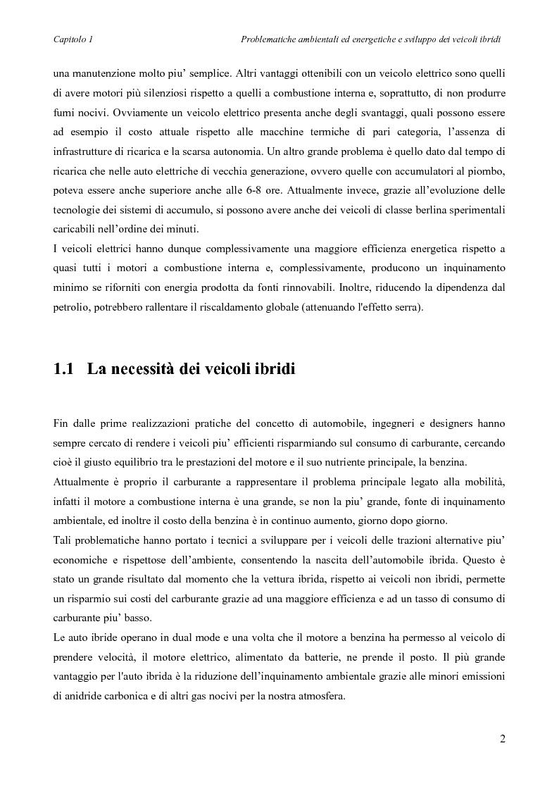 Anteprima della tesi: Sintesi e simulazione di un modello per la gestione dei flussi energetici in un veicolo ibrido., Pagina 5