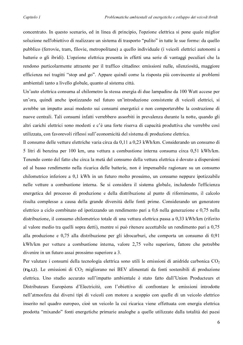 Anteprima della tesi: Sintesi e simulazione di un modello per la gestione dei flussi energetici in un veicolo ibrido., Pagina 9