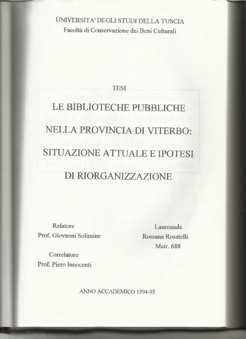 Anteprima della tesi: Le biblioteche pubbliche nella provincia di Viterbo: situazione attuale e ipotesi di riorganizzazione, Pagina 1