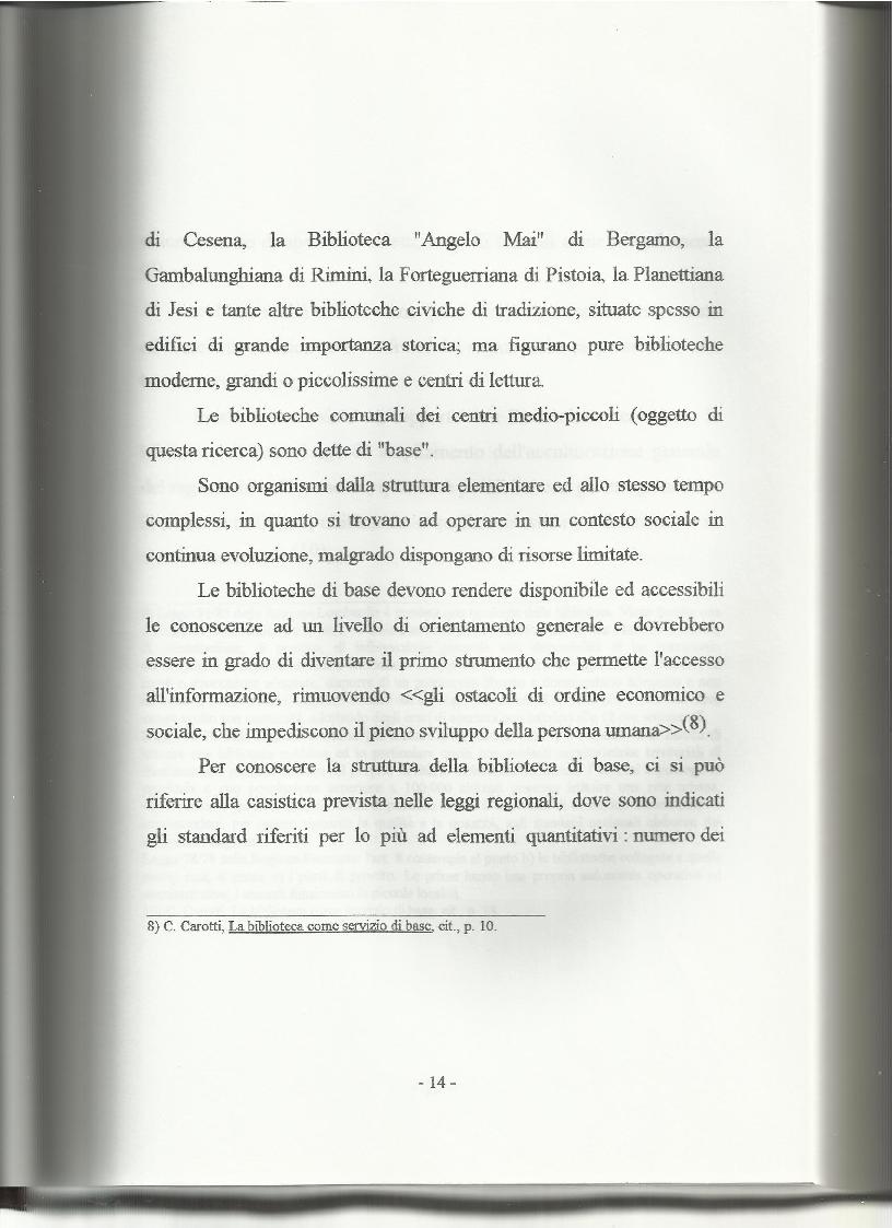 Anteprima della tesi: Le biblioteche pubbliche nella provincia di Viterbo: situazione attuale e ipotesi di riorganizzazione, Pagina 10