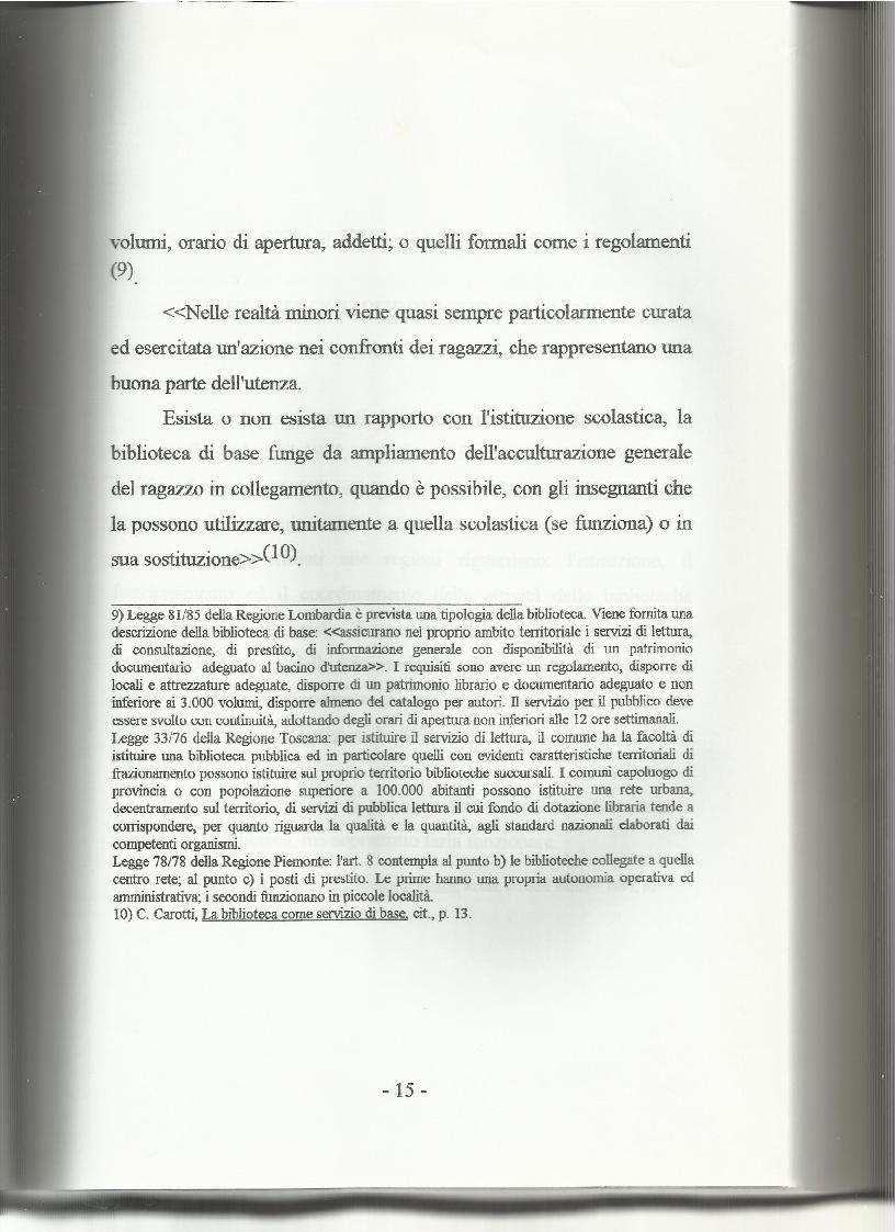 Anteprima della tesi: Le biblioteche pubbliche nella provincia di Viterbo: situazione attuale e ipotesi di riorganizzazione, Pagina 11