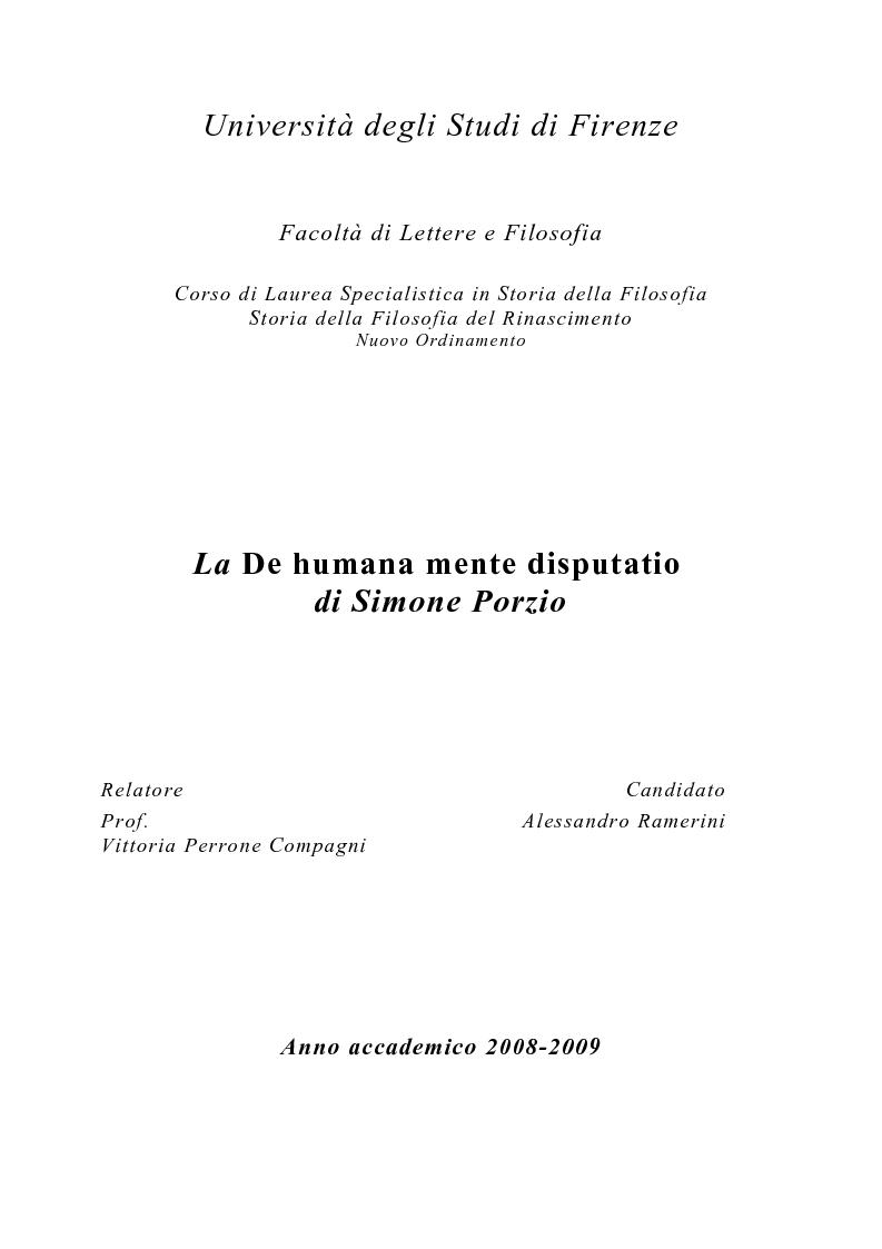 """Anteprima della tesi: La """"De Humana mente disputatio"""" di Simone Porzio, Pagina 1"""