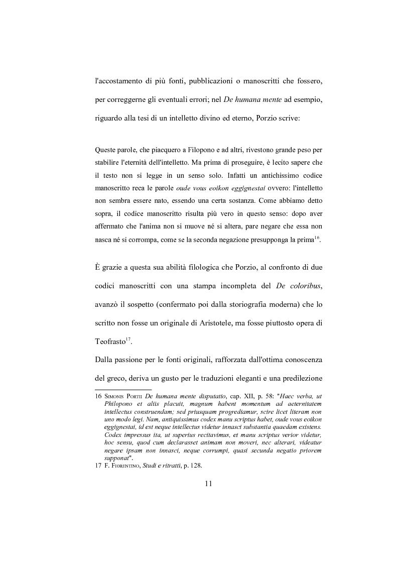 """Anteprima della tesi: La """"De Humana mente disputatio"""" di Simone Porzio, Pagina 12"""