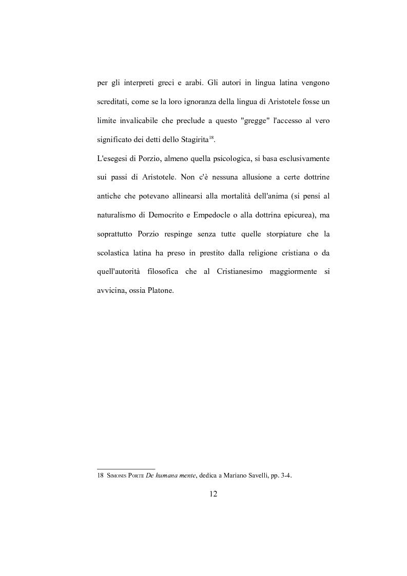 """Anteprima della tesi: La """"De Humana mente disputatio"""" di Simone Porzio, Pagina 13"""