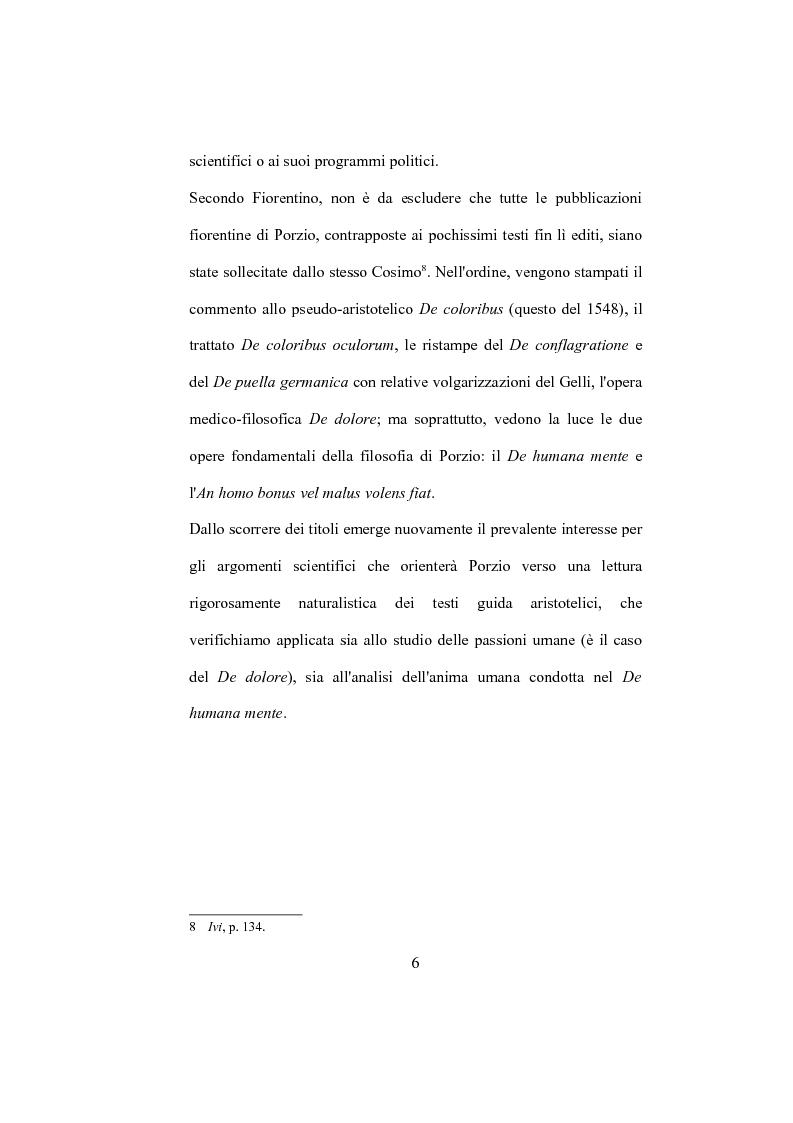 """Anteprima della tesi: La """"De Humana mente disputatio"""" di Simone Porzio, Pagina 7"""
