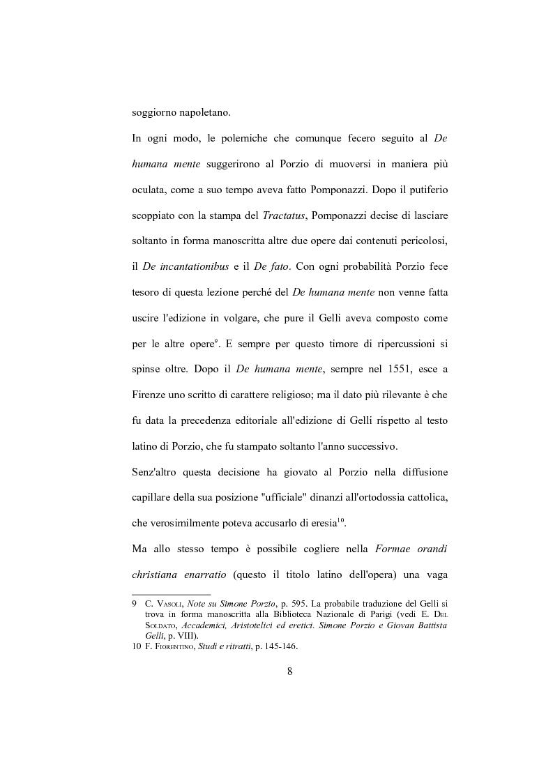 """Anteprima della tesi: La """"De Humana mente disputatio"""" di Simone Porzio, Pagina 9"""