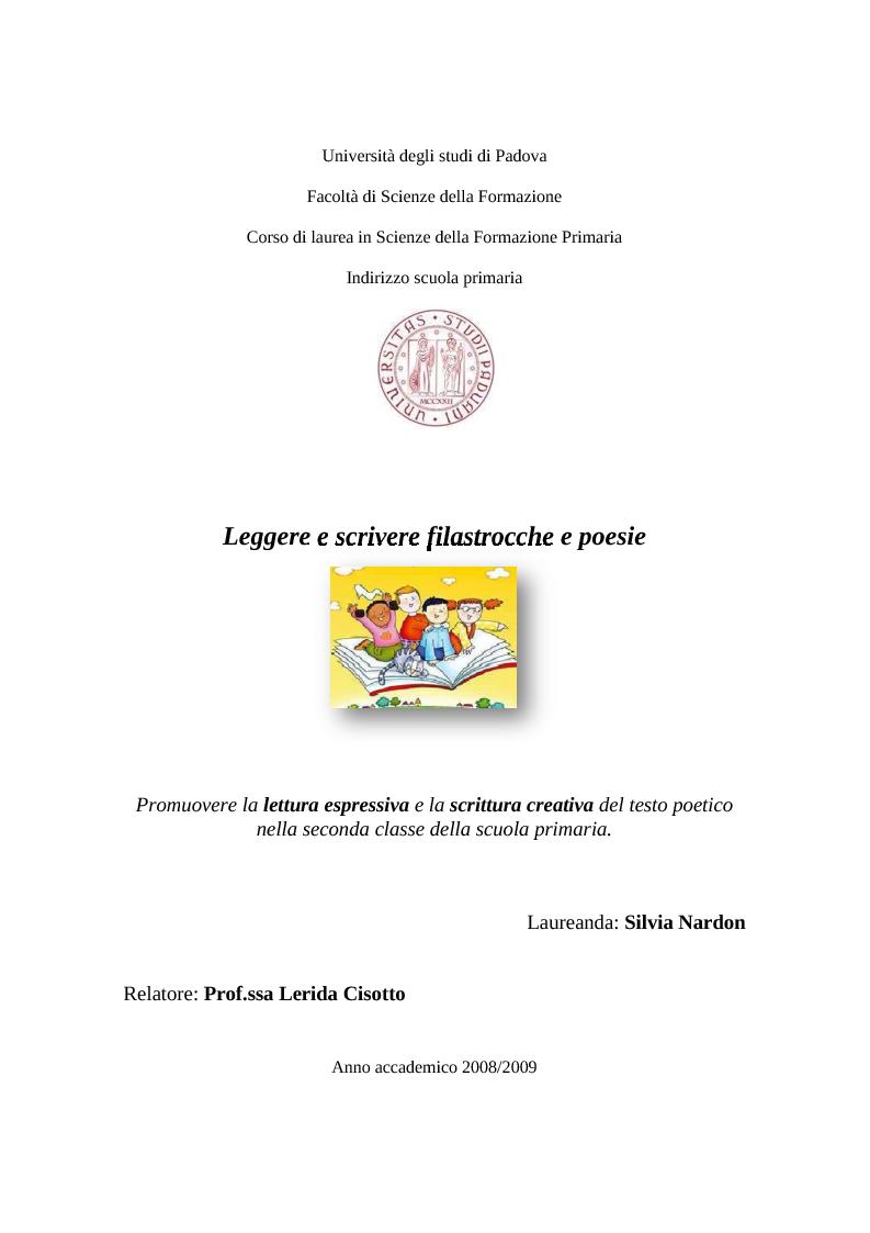 Anteprima della tesi: La lettura espressiva e la scrittura creativa del testo poetico nella scuola primaria, Pagina 1