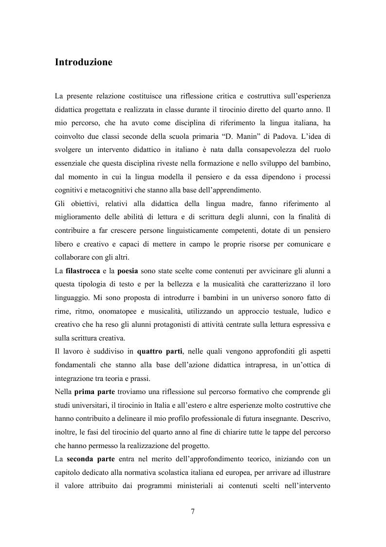 La lettura espressiva e la scrittura creativa del testo poetico nella scuola primaria - Tesi di Laurea
