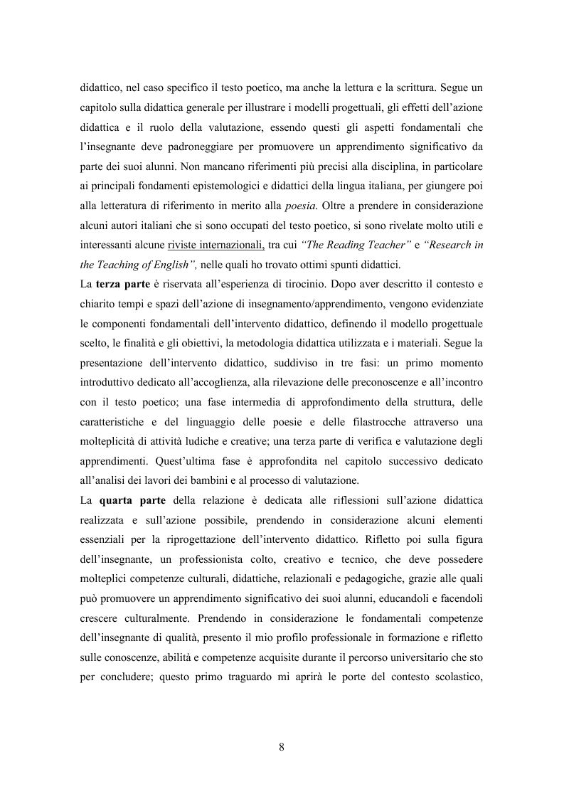 Anteprima della tesi: La lettura espressiva e la scrittura creativa del testo poetico nella scuola primaria, Pagina 3