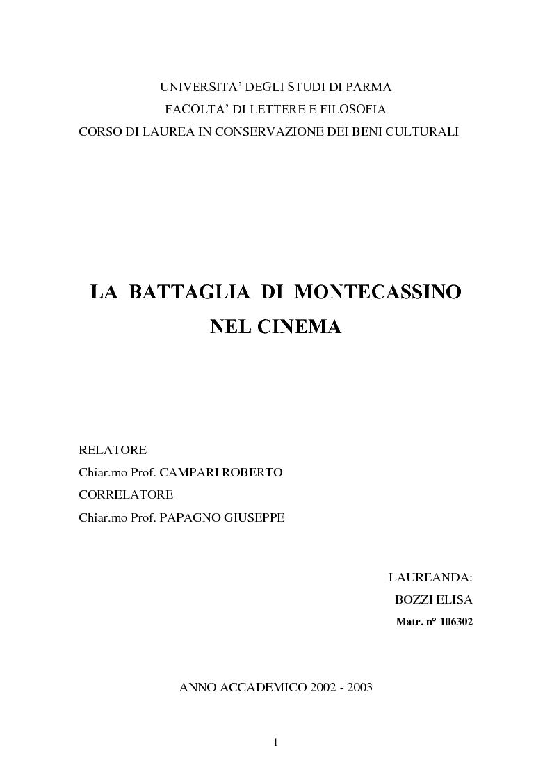 Anteprima della tesi: La battaglia di Montecassino nel cinema, Pagina 1