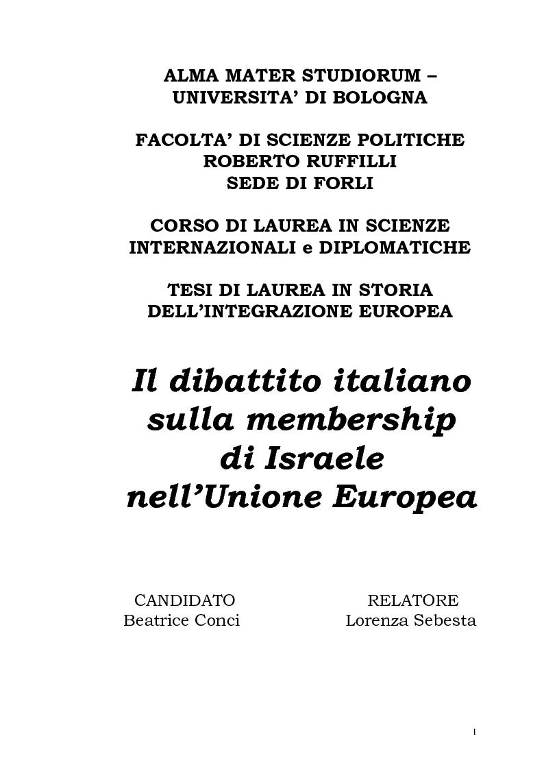Anteprima della tesi: Il dibattito italiano sulla membership di Israele nell'Unione Europea, Pagina 1