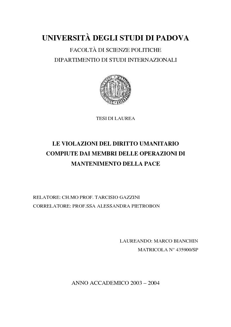 Anteprima della tesi: Le violazioni del diritto umanitario compiute di membri delle operazioni di mantenimento della pace, Pagina 1