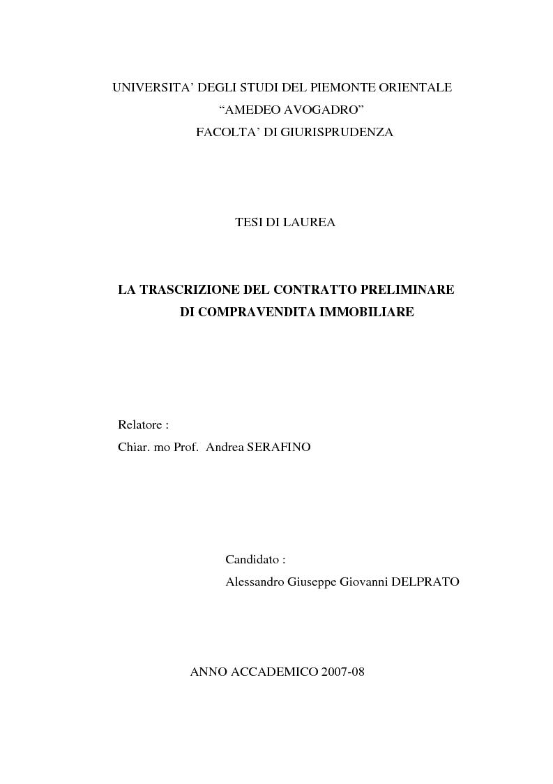 Anteprima della tesi: La trascrizione del contratto preliminare di compravendita immobiliare (diritto civile), Pagina 1