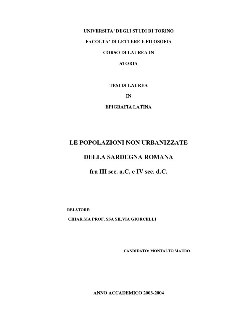 Anteprima della tesi: Le popolazioni non urbanizzate della Sardegna romana fra III sec. a.C. e IV sec. d.C., Pagina 1