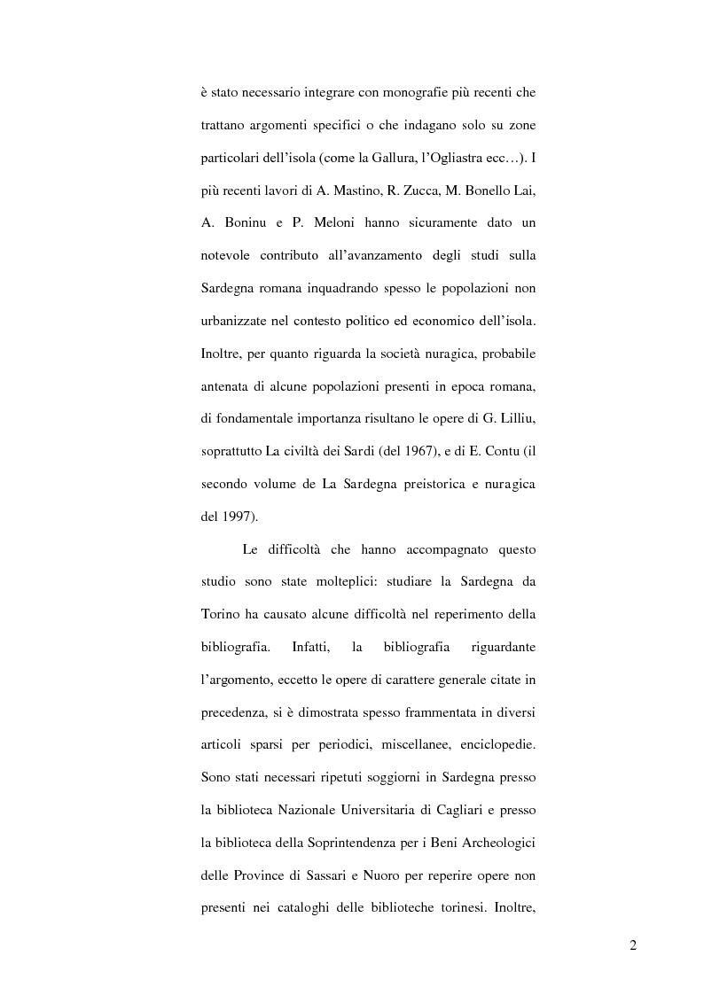 Anteprima della tesi: Le popolazioni non urbanizzate della Sardegna romana fra III sec. a.C. e IV sec. d.C., Pagina 3