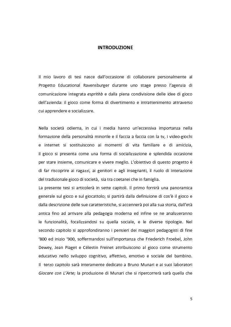 Anteprima della tesi: Il gioco come forma di socialità e interazione. Progetto Educational Ravensburger., Pagina 2