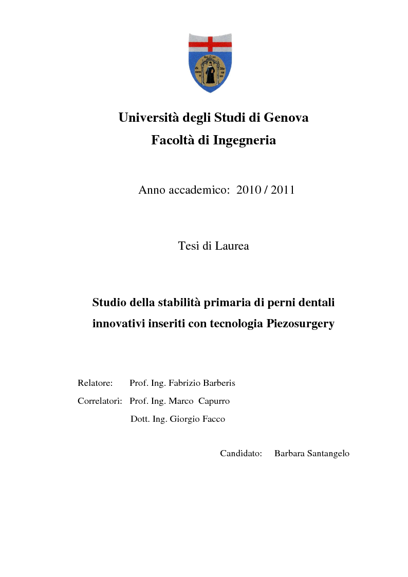 Anteprima della tesi: Studio della stabilità primaria di perni dentali innovativi inseriti con tecnologia Piezosurgery, Pagina 1