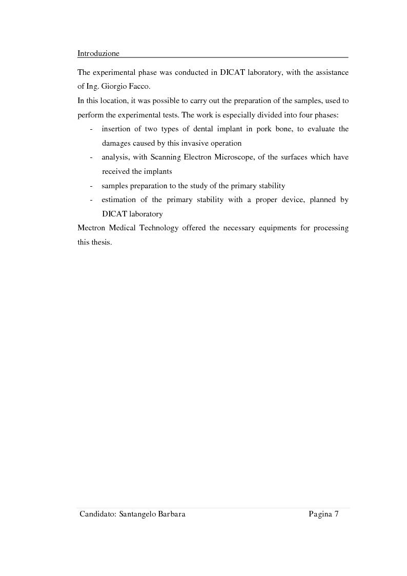 Anteprima della tesi: Studio della stabilità primaria di perni dentali innovativi inseriti con tecnologia Piezosurgery, Pagina 5