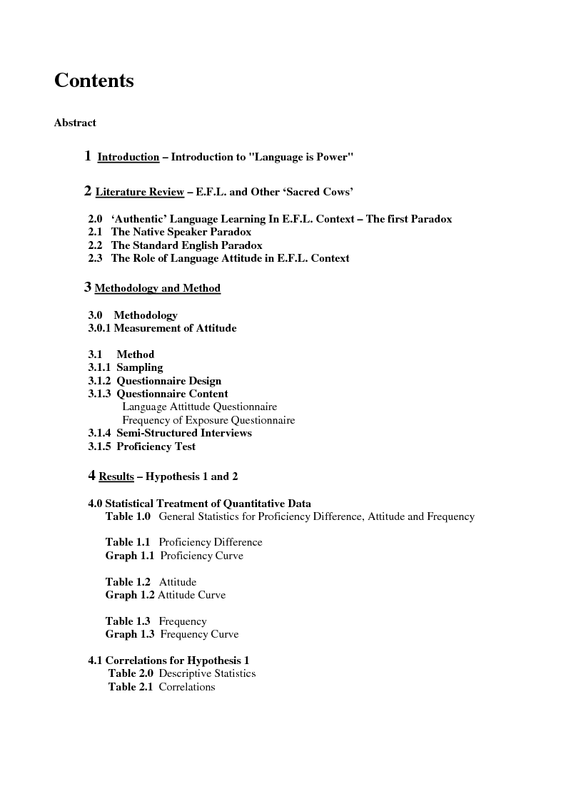 Indice della tesi: Language is Power - Attitude to English Language Learning of Italian Pupils during an intensive summer school Programme, Pagina 1