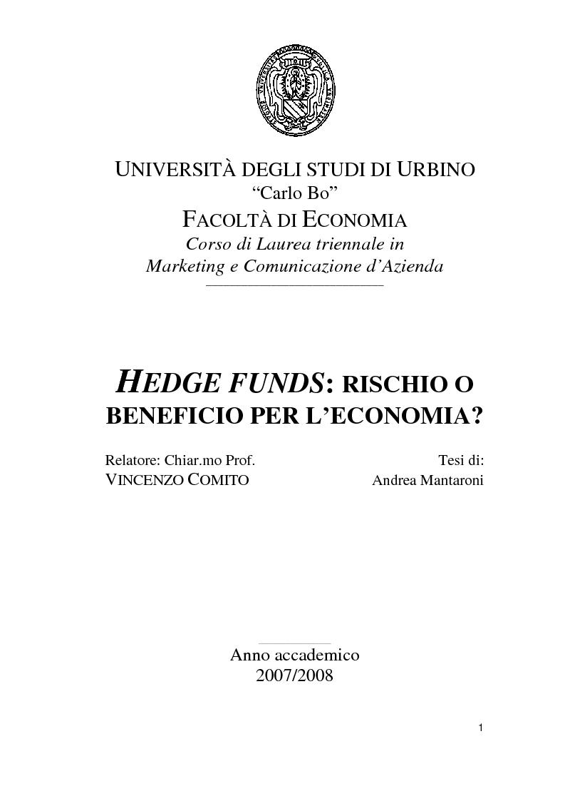 Anteprima della tesi: Hedge Funds: rischio o beneficio per l'economia?, Pagina 1