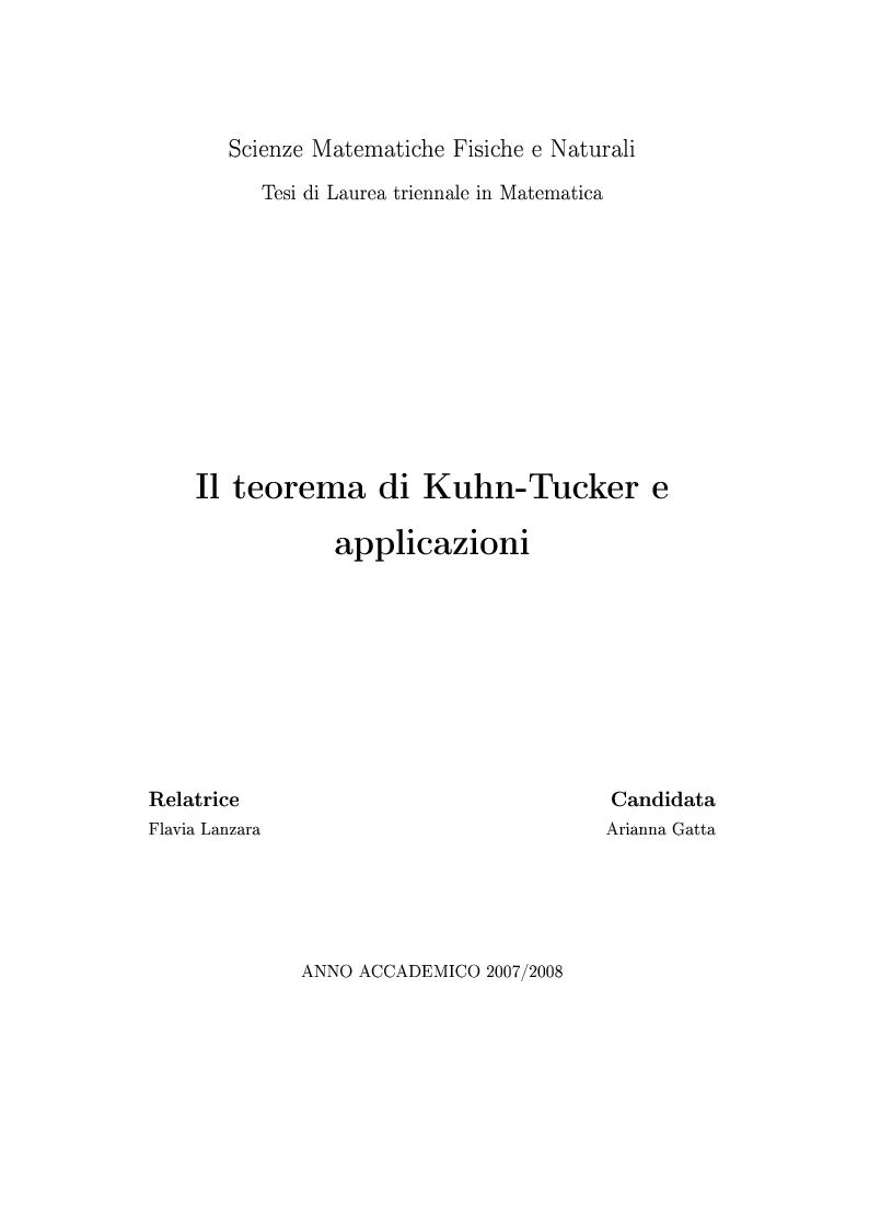 Anteprima della tesi: Il teorema di Kuhn-Tucker e applicazioni, Pagina 1