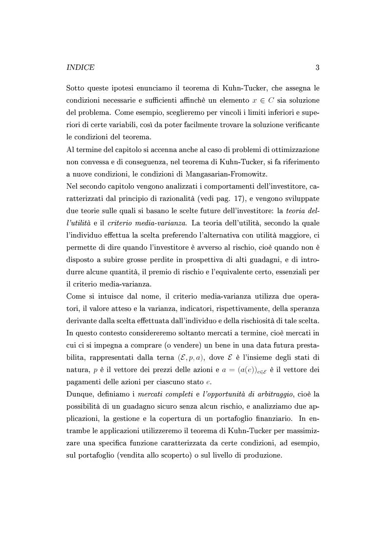 Anteprima della tesi: Il teorema di Kuhn-Tucker e applicazioni, Pagina 3