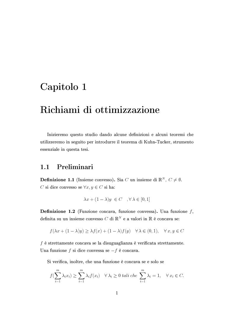 Anteprima della tesi: Il teorema di Kuhn-Tucker e applicazioni, Pagina 5