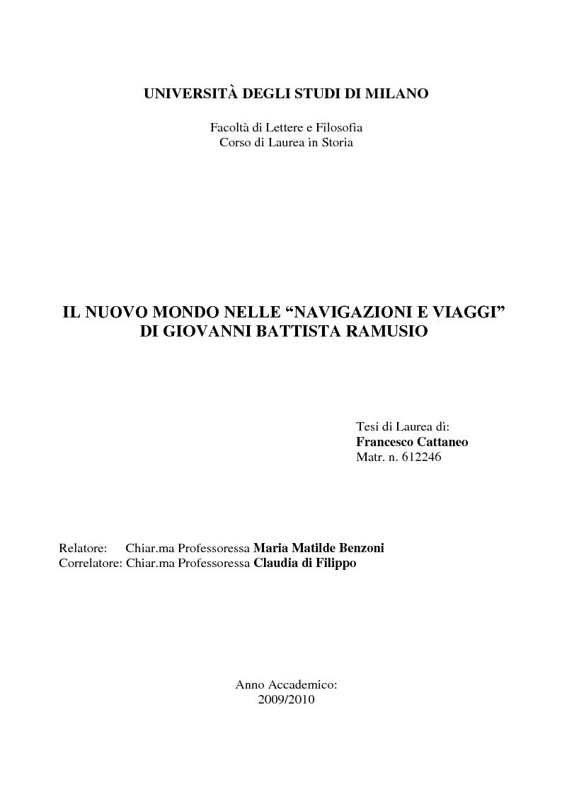 """Anteprima della tesi: Il Nuovo Mondo nelle """"Navigazioni e Viaggi"""" di Giovanni Battista Ramusio, Pagina 1"""