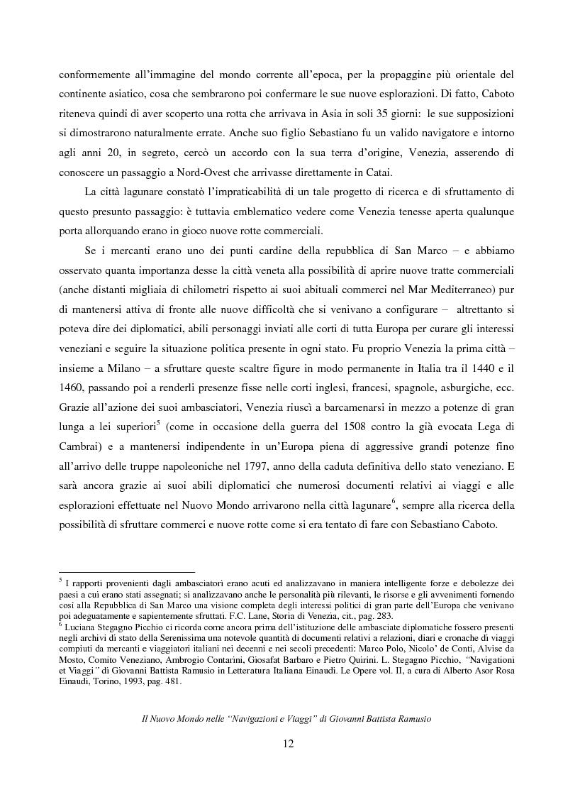 """Anteprima della tesi: Il Nuovo Mondo nelle """"Navigazioni e Viaggi"""" di Giovanni Battista Ramusio, Pagina 10"""