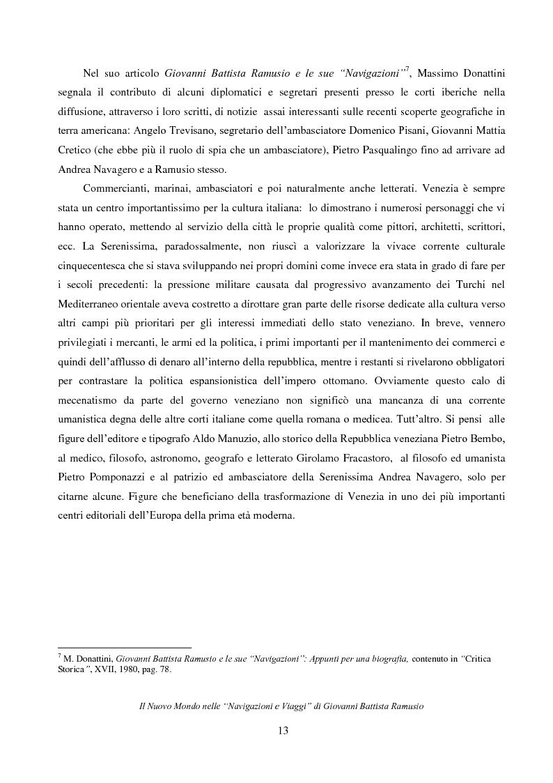 """Anteprima della tesi: Il Nuovo Mondo nelle """"Navigazioni e Viaggi"""" di Giovanni Battista Ramusio, Pagina 11"""