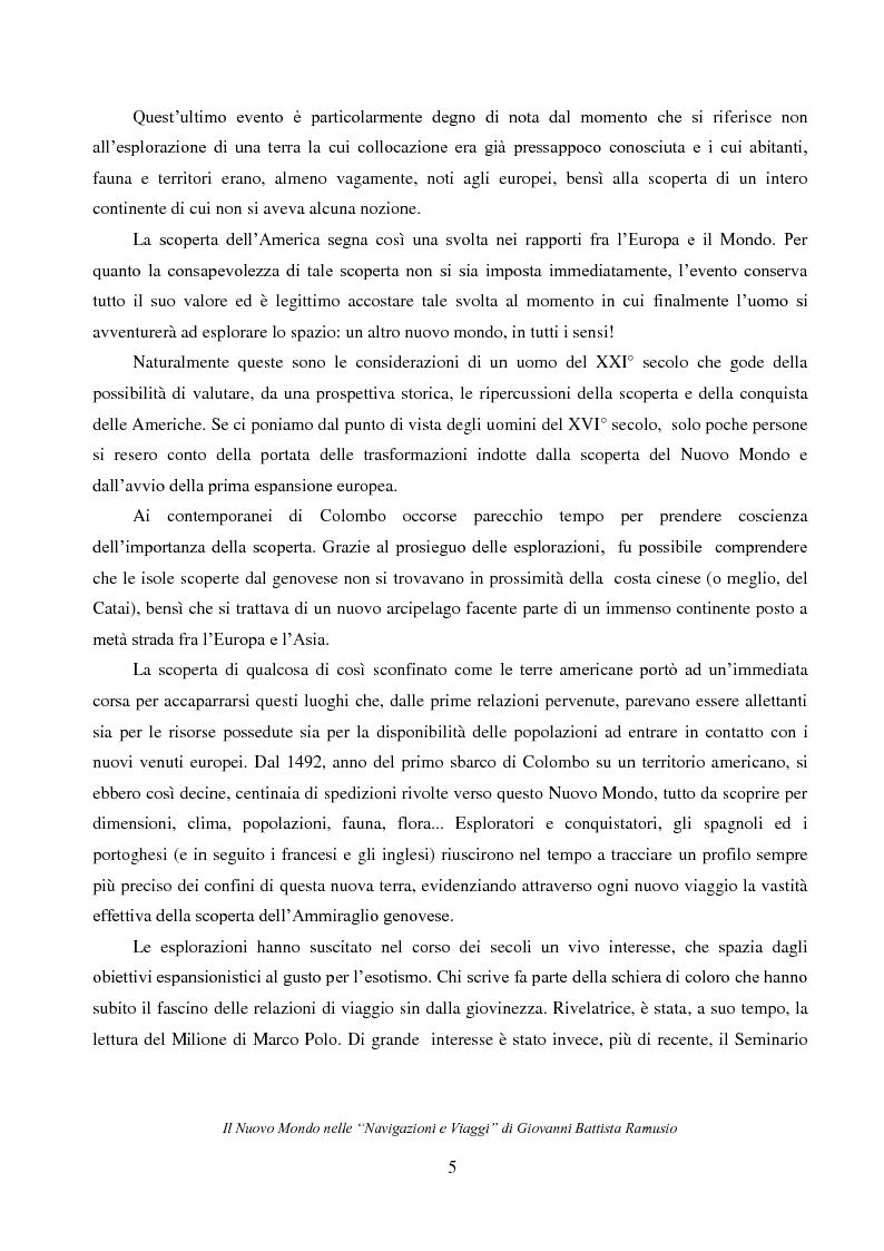 """Anteprima della tesi: Il Nuovo Mondo nelle """"Navigazioni e Viaggi"""" di Giovanni Battista Ramusio, Pagina 3"""