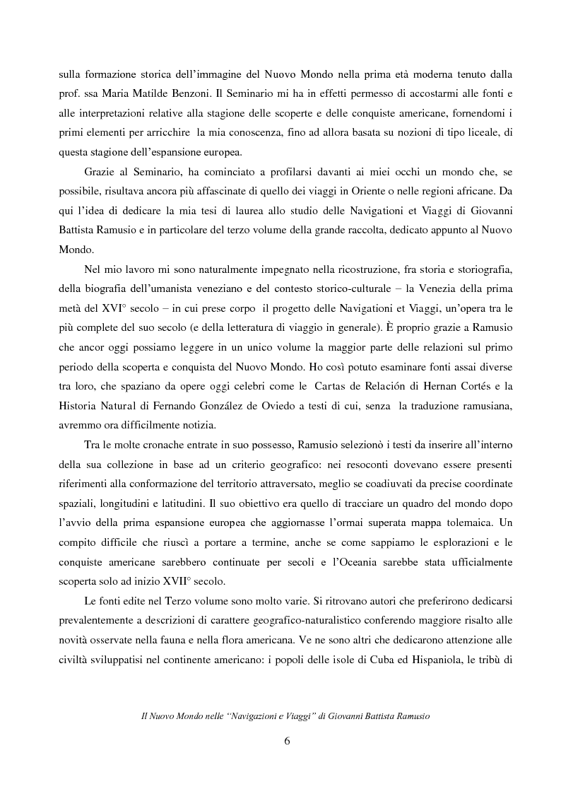 """Anteprima della tesi: Il Nuovo Mondo nelle """"Navigazioni e Viaggi"""" di Giovanni Battista Ramusio, Pagina 4"""