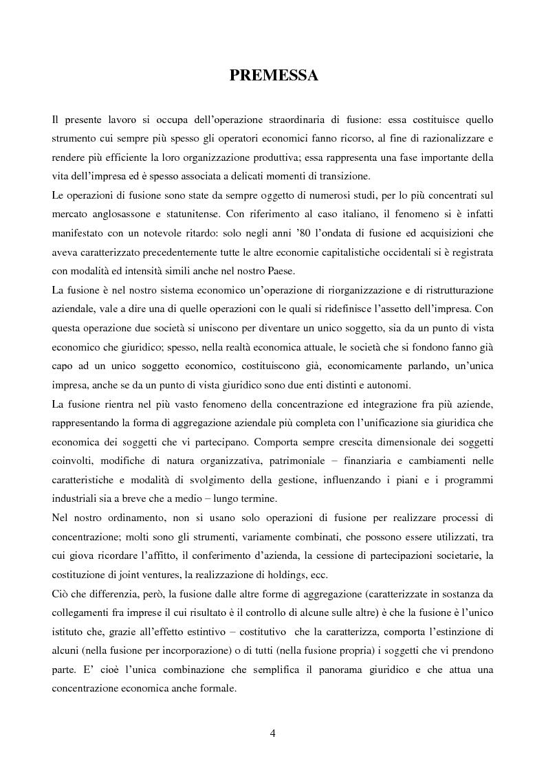 Anteprima della tesi: L'operazione straordinaria di fusione: aspetti giuridici, contabili e fiscali. Il caso Intesa-Sanpaolo IMI, Pagina 2