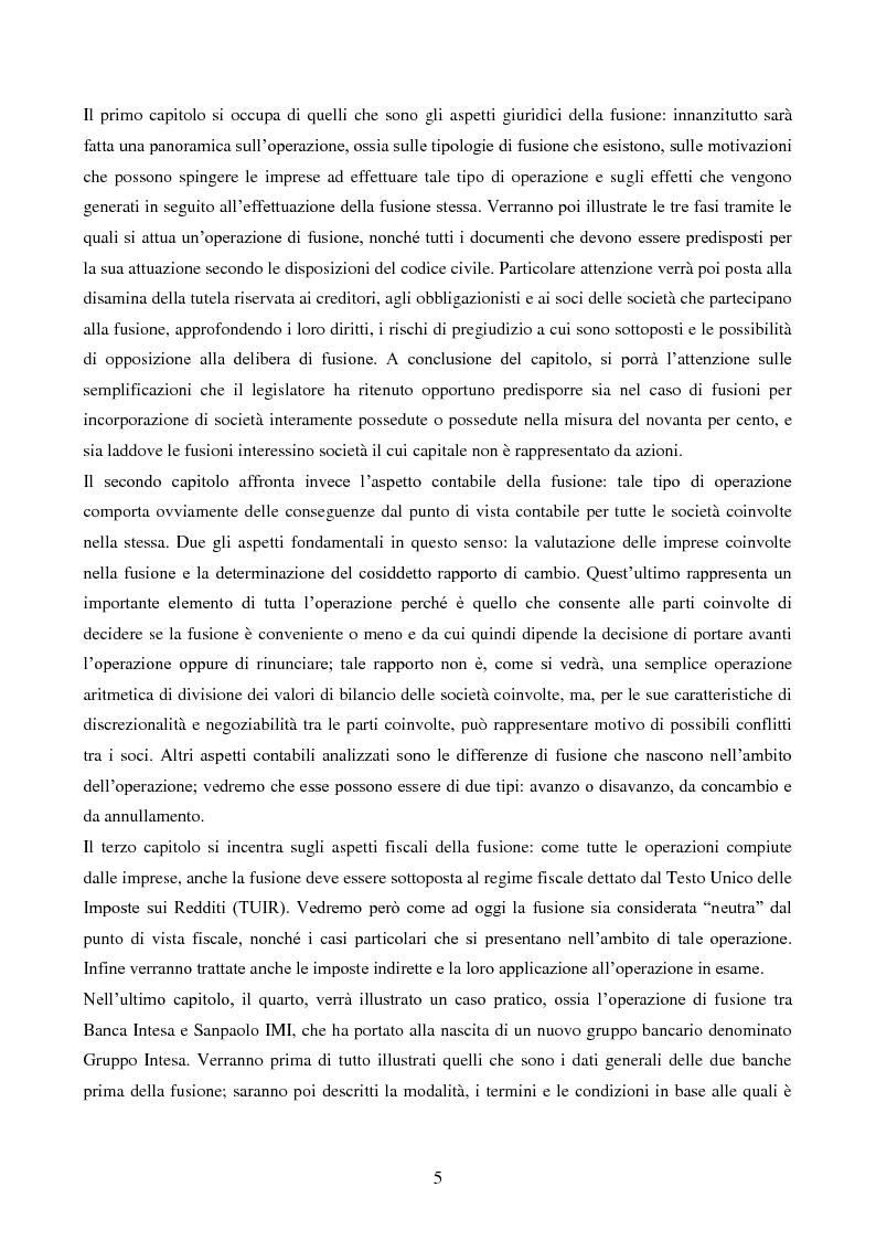Anteprima della tesi: L'operazione straordinaria di fusione: aspetti giuridici, contabili e fiscali. Il caso Intesa-Sanpaolo IMI, Pagina 3