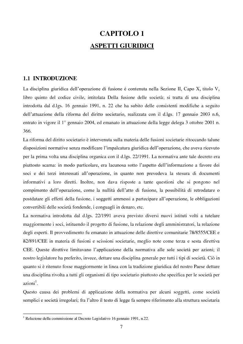 Anteprima della tesi: L'operazione straordinaria di fusione: aspetti giuridici, contabili e fiscali. Il caso Intesa-Sanpaolo IMI, Pagina 5