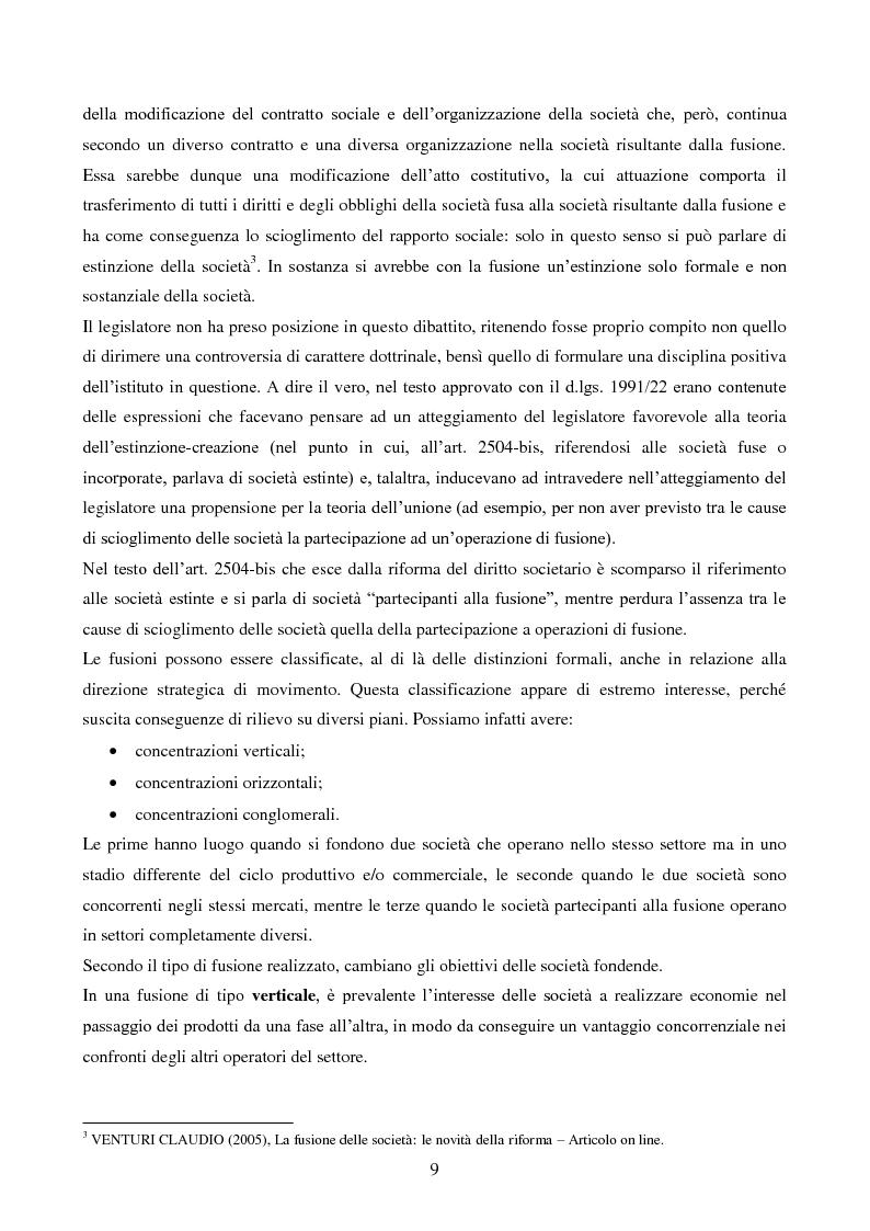 Anteprima della tesi: L'operazione straordinaria di fusione: aspetti giuridici, contabili e fiscali. Il caso Intesa-Sanpaolo IMI, Pagina 7