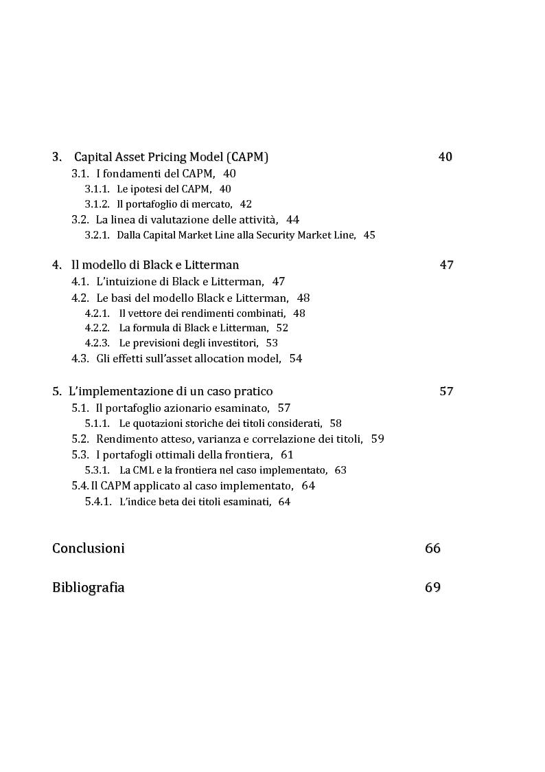 942de2af17 Indice della tesi: La gestione di un portafoglio azionario: il modello di  Markowitz per. «
